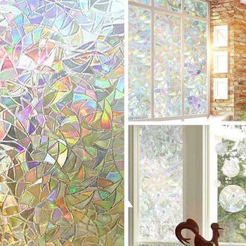 45cm x 100cm 3D bez kleju statyczne dekoracyjne folie okienne folie samoprzylepne Anti Rainbow naklejki szkło samoprzylepne Uv dla Sta F9H8 tanie i dobre opinie