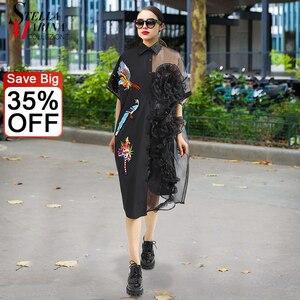 Летнее женское черное платье-рубашка миди с сеткой 2019, женское прозрачное милое платье большого размера с оборками и вышивкой в виде птицы, ...