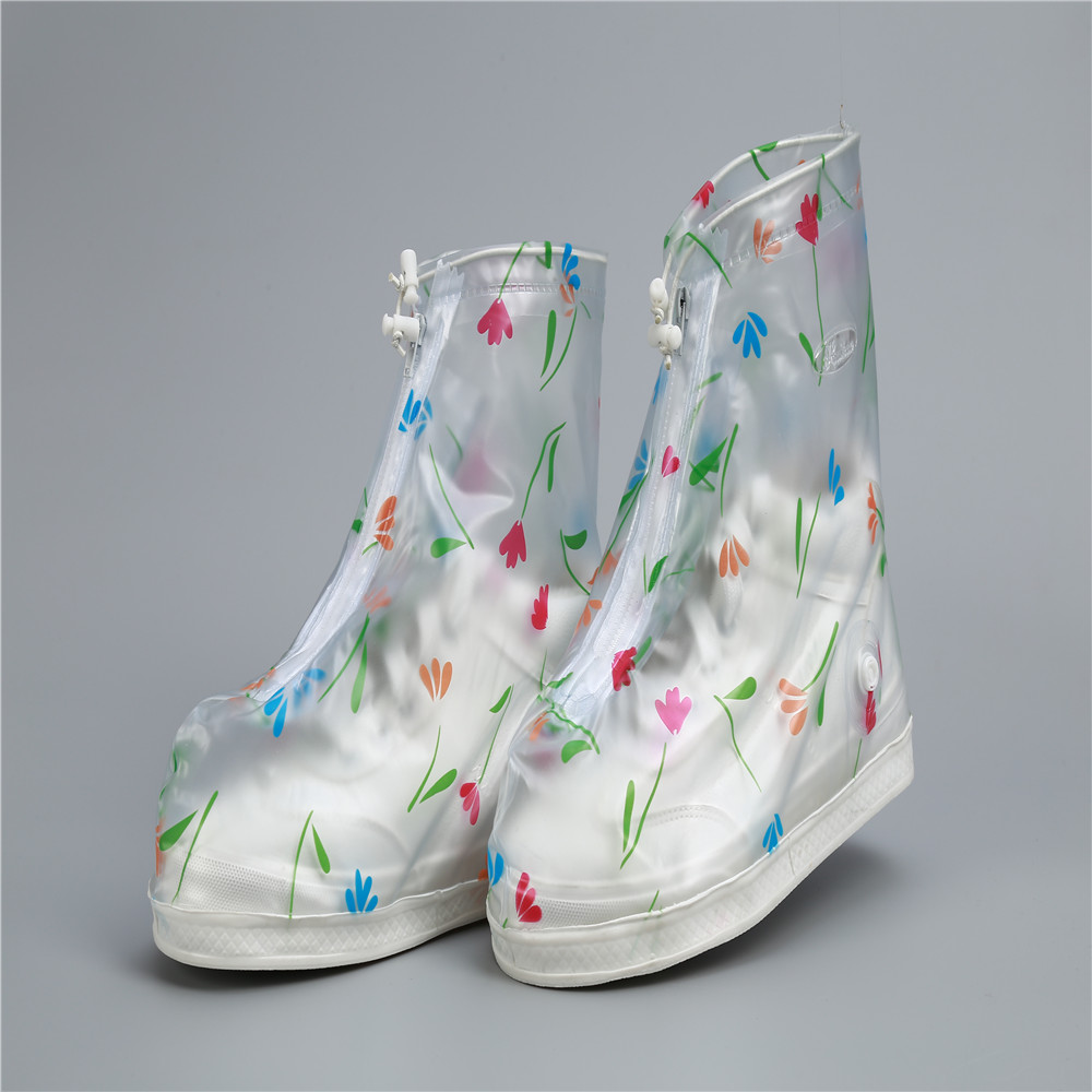 Middle Upper Printing Clover Waterproof Resuable Rain Boot Shoes Cover Oil Dust Proof Virus Protection For Women