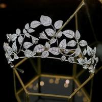 Luxury zirconia crown crystal tiara wedding hair accessories headdress ladies jewelry