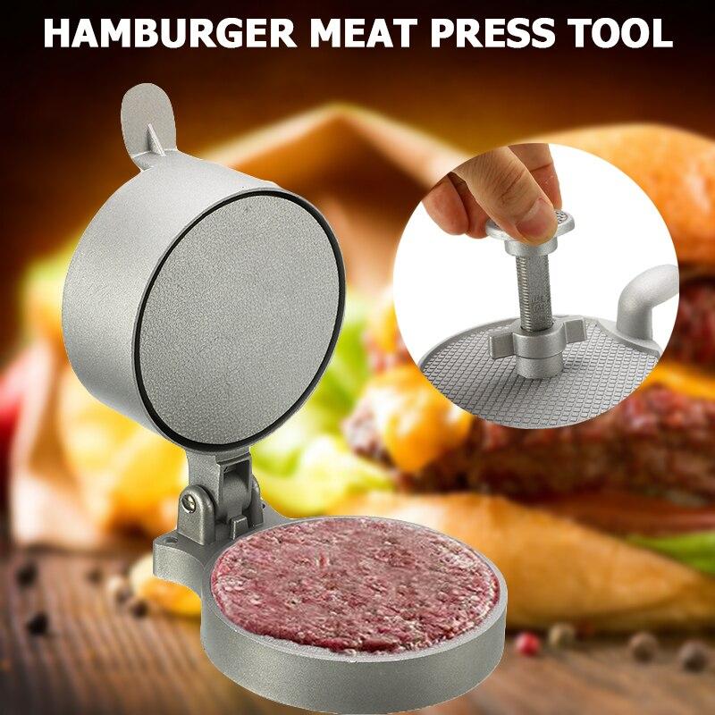 Manual Aluminum Alloy Hamburger Meat Press Tool Adjustable Burger Beef Patty Mold Non-stick Burger Meat Pie Maker Kitchen Tools