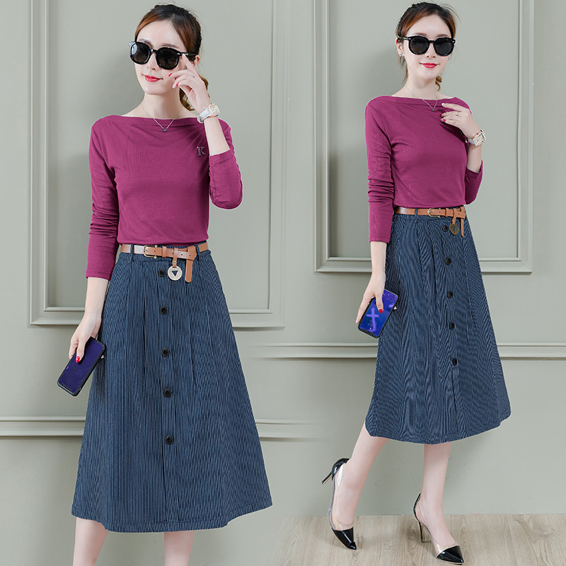 Medium-length Skirt Suit WOMEN'S Dress 2019 Spring And Autumn New Style Long Sleeve Fashion Korean-style Slimming Two-Piece Dres