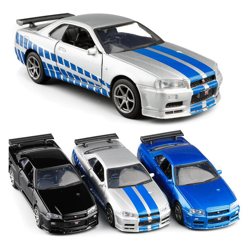High Quality 1:36 Nissan GT-R R34 Sports Car Alloy Model,simulated Metal Pull Back Model Toys,children's Gifts,free Shipping