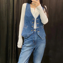 Lady Denim Waistcoat Biker Crop Jackets Vest Jeans Tops Gilet Sleeveless Classic