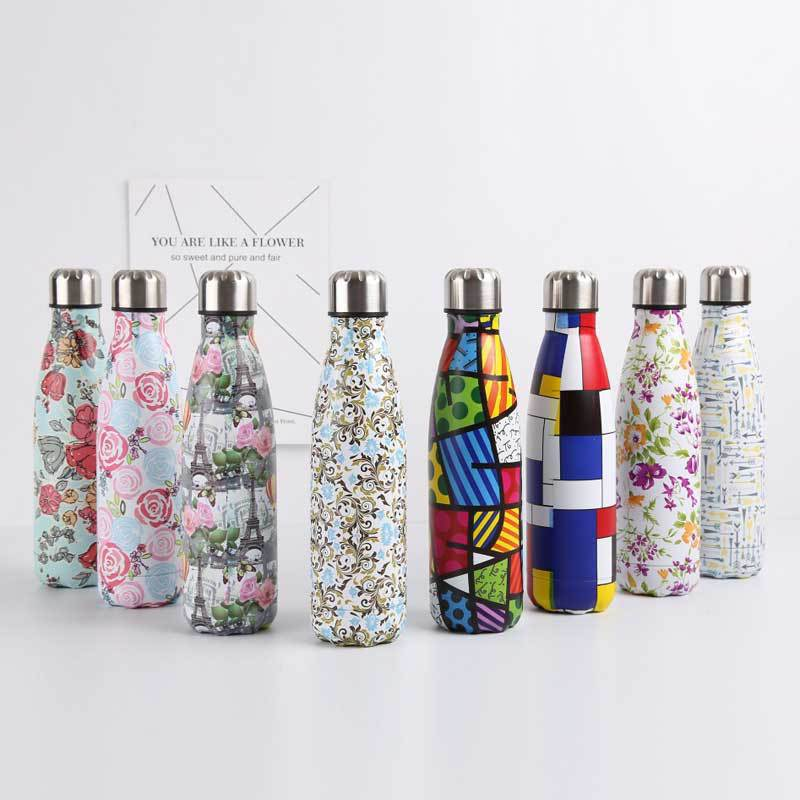 Metal Water Bottle Stainless Steel Vacuum Insulated Water Bottles Flask Thermal Sports Chilly 500ML Double Wall Direct Drinking image