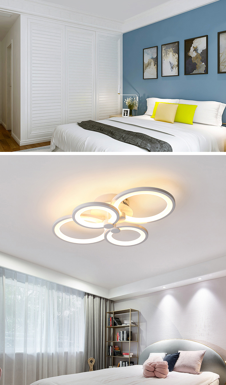 H2356e49b433e4ec0a6ad72bc3ec3d787Q NEO Gleam RC Modern Led ceiling lights for living room bedroom study room ceiling lamp plafondlamp White Color AC 110V 220V