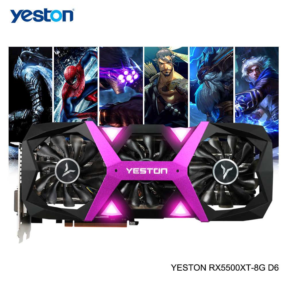 Yeston Radeon RX 5500 XT GPU 8 ギガバイト GDDR6 128bit 7nm ゲーコンピュータ PC ビデオグラフィックスカードサポート DP /HDMI/DVI-D