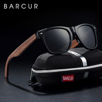 BARCUR Wooden Men's Walnut Wood Sunglasses Polarized Women Shades Sun Glasses Men Polarized Womens in Wood Case Gift
