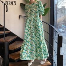 SuperAen Korean Style Women Long Dress Summer New 2020 Short