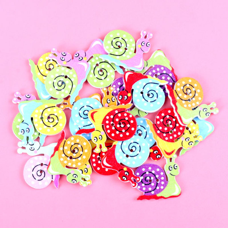 20pcs mixed Colorful Snail Painted Wooden Buttons Fit Sewing and Scrapbooking 23x22mm Sewing Buttons For Craft DIY