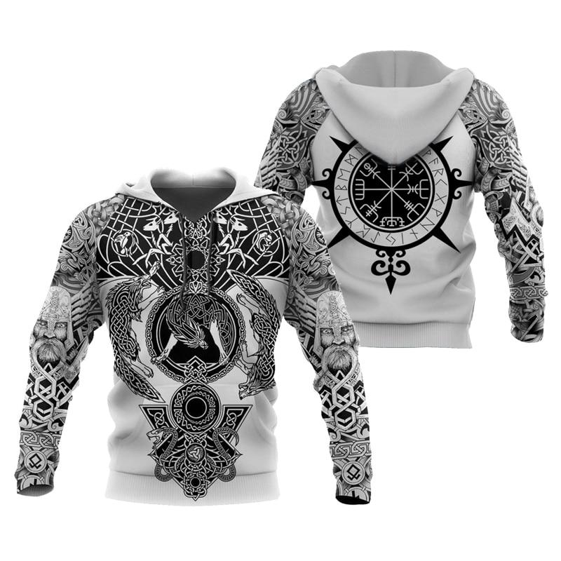 PLstar Cosmos carzy pattern Viking Tattoo 3D Printed Men hoodies Harajuku Hooded Sweatshirt Autumn Fashion hoodie tops-1