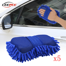 LEEPEE Car Accessories Soft Washer Cleaning Glove Foam Washing Tools Brush Daily Use Household Motorcycle Auto Universal 5PCS