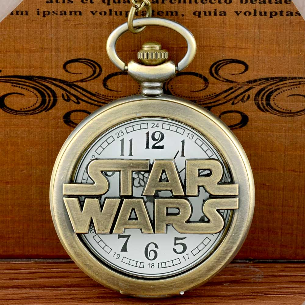 New Arrivals Bronze Star Wars Hollow Quartz Pocket Watch Vintage Men Women Pendant Necklace Gift