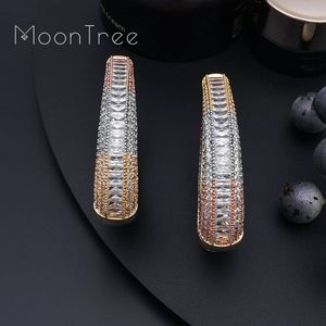 Image 2 - MoonTree Big Earrings Big Wide Circle Full Micro Cubic 3Tone Color Copper Pave Setting Ladies  Earrings Jewelry  Bijoux