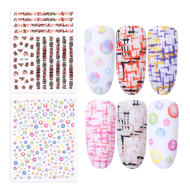 21 Patterns Flowers Stripe Shape 3D Nail Sticker Transfer Decals Self-adhesive Decorations for Nail Art Gel Polish DIY