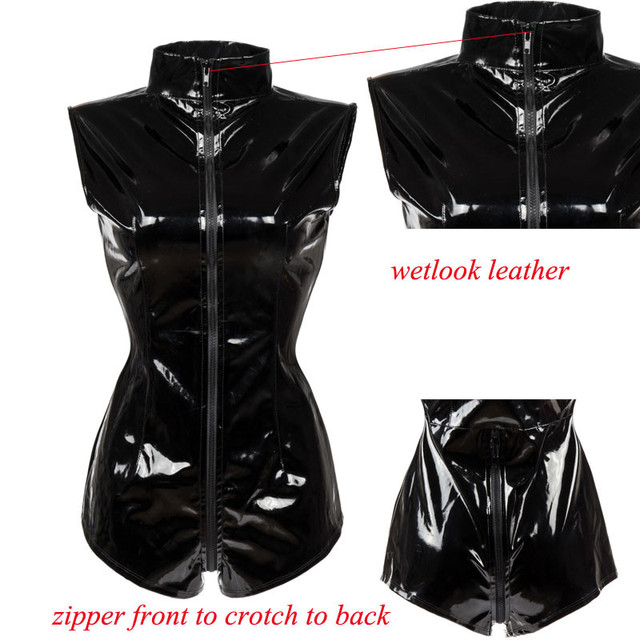 M7279 Sexy Black Zipper Womens Erotic Thong Jumpsuit PVC Faux Leather Catsuit Stripper Pole Leotard Skeleton Bodysuit Club 4