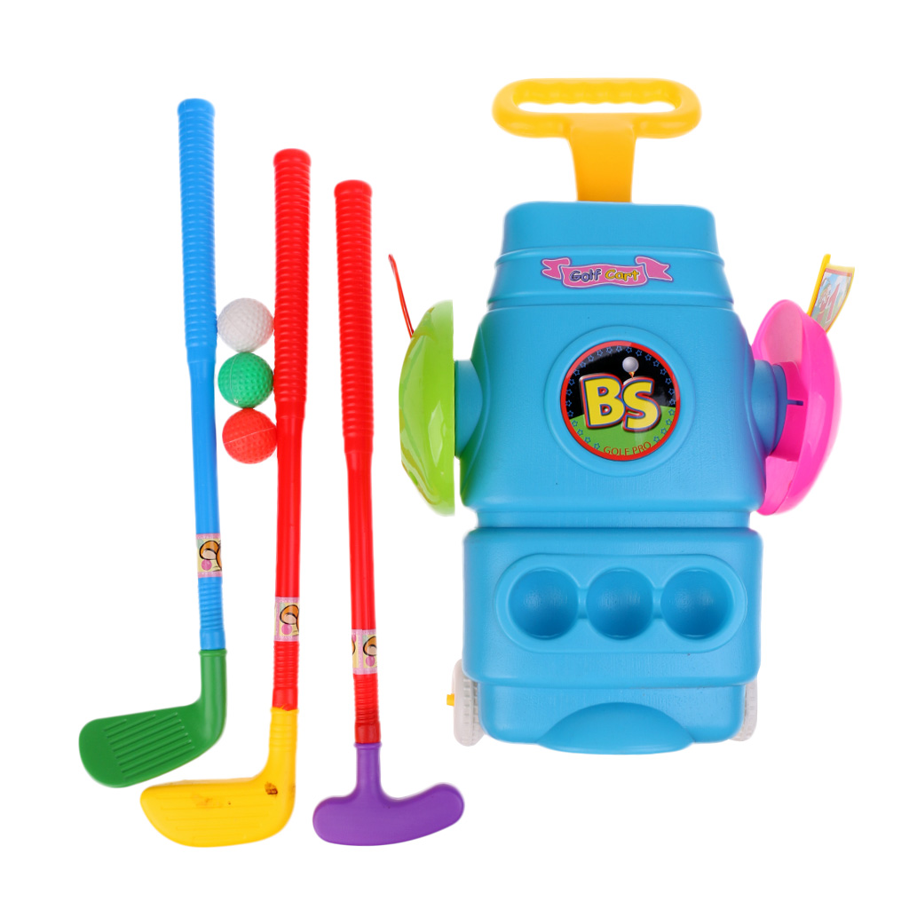 Deluxe Kids Toy Golf Set With 3 Balls, 3 Types Of Clubs, 2 Holes, And Golf Cart