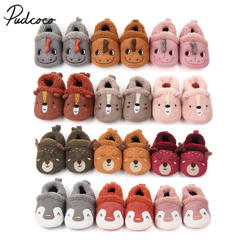 Pudcoco Fashion Baby Cotton Shoes Kids Home Boot Boys And Girls Baby Cute Cartoon Warm Shoes Boys Girls Thickening First Walkers