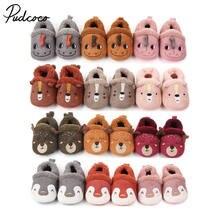 Sapatos infantis de algodão pudcoco, sapatos para bebês, quente de desenho animado, bota de casa para meninos e meninas caminhantes