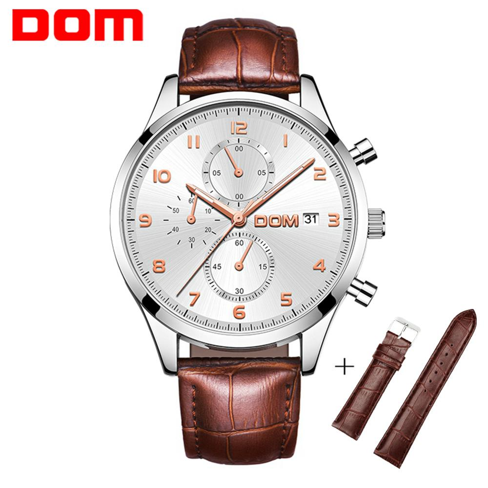 DOM Men Watch Top Brand Man Watches Chronograph Sport Waterproof Clock Man Stopwatch Luxury Fashion Men's Watch + Gift M-637