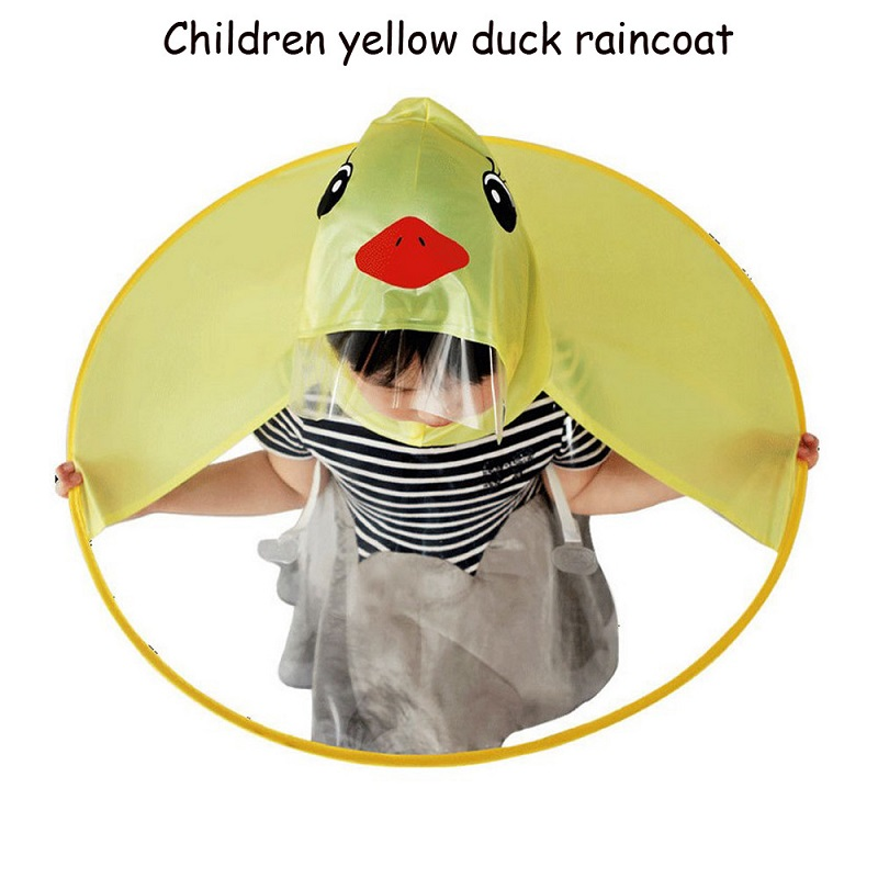 New Cute Cartoon Duck UFO Children Kids Raincoat Girls Boys Rain Coat Trench Poncho Outdoor Magical Hands Free Student Rainwear