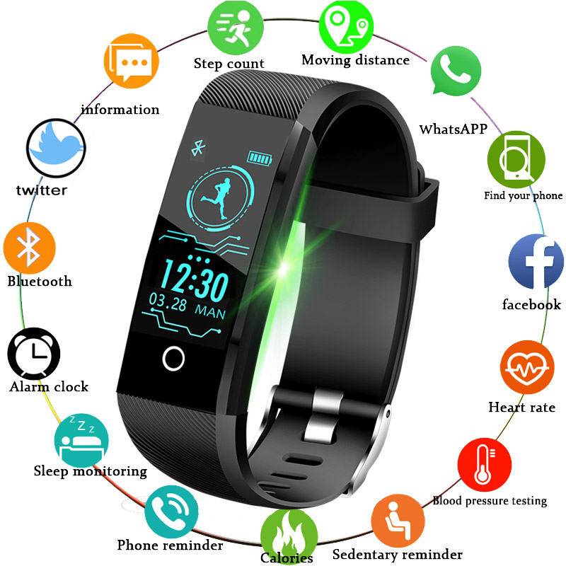 LIGE smart watch Men fitness tracker sport Watch blood pressure heart rate monitor Alarm clock remind smartwatch For Android iOS