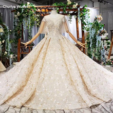 HTL749 wedding gowns for women 2019 o-neck beading sequined half sleeves backless dress online shop china vestidos de noiva(China)