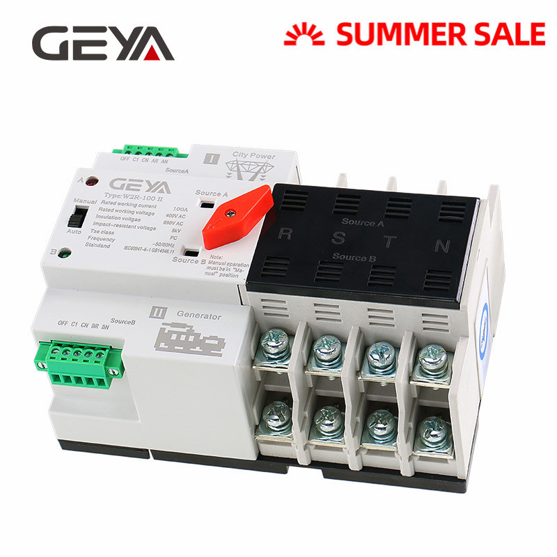 GEYA Din Rail 4P <font><b>ATS</b></font> Electric <font><b>Switch</b></font> Manual Transfer <font><b>Switch</b></font> 110V 220V Coil Max 100A PC Type <font><b>Switch</b></font> image