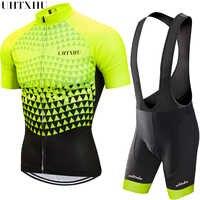 Uhtxhu 2020 Cycling Set Men Cycling Jersey Sets Bike Clothing Clothes Breathable Anti-UV Mtb Bicycle Wear Cycling Clothing