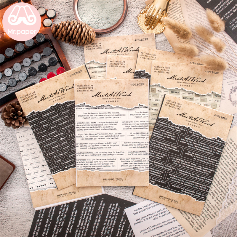 Mr.paper 8 Designs 4Pcs/pack Vintage English Words Deco Stickers Scrapbooking Bullet Journal Popular Creative Deco Stickers