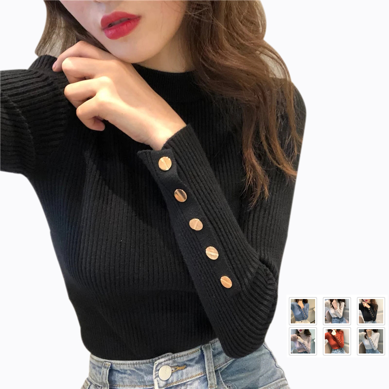 Elastic Tight Winter Sweater Women Wild Self-cultivation Solid Half High Collar Button Knit Sweater Women Pullovers Tops