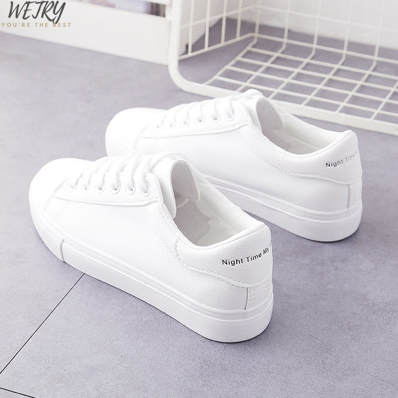 IN 2020 HOT Women Sneakers  Fashion Breathble Vulcanized Shoes Women Pu Leather Platform Shoes Women Lace Up Casual Shoes White