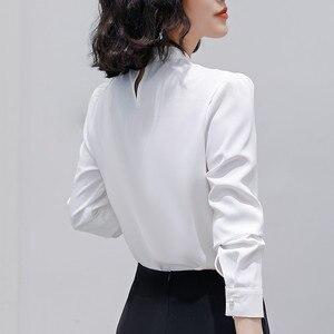 Image 4 - Naviu רך ונוח חולצה ארוך שרוול באיכות גבוהה חולצה עם יהלומים משרד ליידי Loose סגנון ירוק למעלה עבור נשים