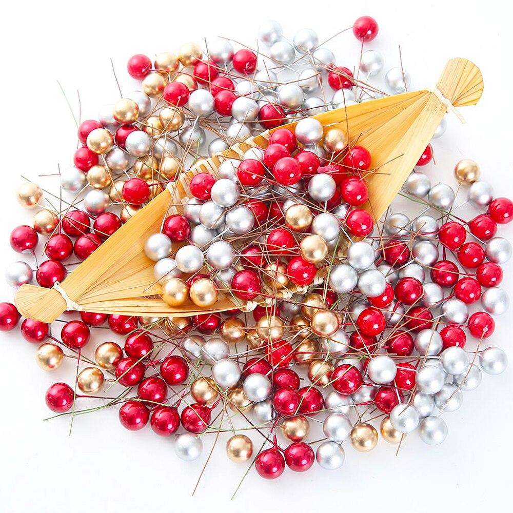 50 шт. 1,2/1,5 см искусственные цветы, фруктовые жемчужные тычинки, пластиковые ягоды для свадьбы, Рождества, Нового года, Подарочная коробка, ук...