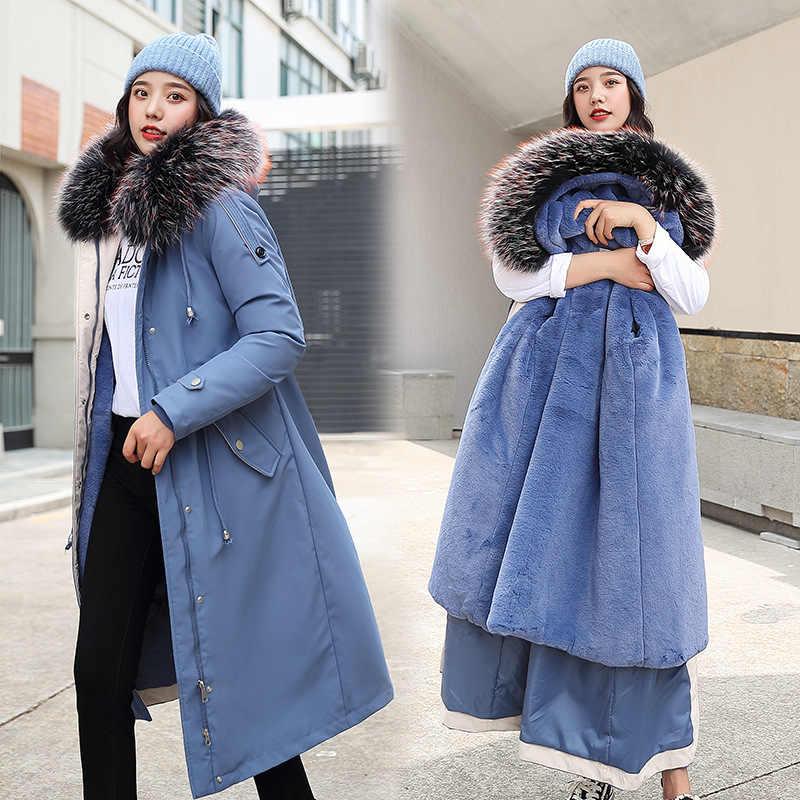 2019 ใหม่มาถึงผ้าฝ้ายเบาะลง JACKET Slim ยาวแจ็คเก็ตสำหรับผู้หญิง Thicken เสื้อสุภาพสตรีสุภาพสตรี WARM Parkas PLUS กำมะหยี่