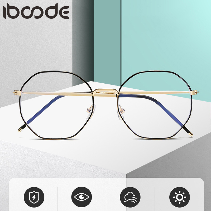 Iboode Vintage Polygon Irregular Women Prescription Eye Glasses Frame Metal Computer Men Anti Blue Light Eyewear Eyeglasses 2020
