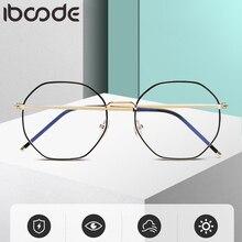 iboode Vintage Polygon Irregular Women Prescription Eye Glasses Frame Metal Computer Men Anti Blue Light Eyewear Eyeglasses 2020