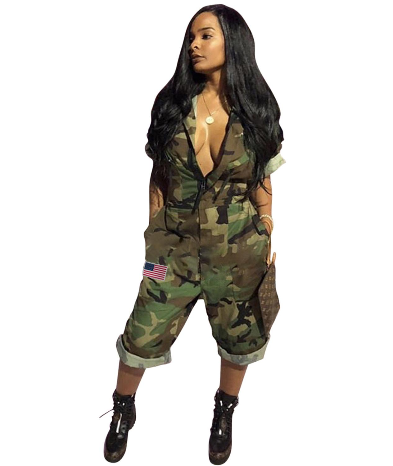 2020 New Famous Casual Women Jumpsuit Camouflage Turn-down Collar Short Sleeve Calf-Length Romper image