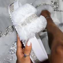 Fur Slippers Women 2021 Fashion Summer Fur Slides For Woman Rhinestone Sandals Fluffy Female Shoes Glitter Indoor Diamond Shoes