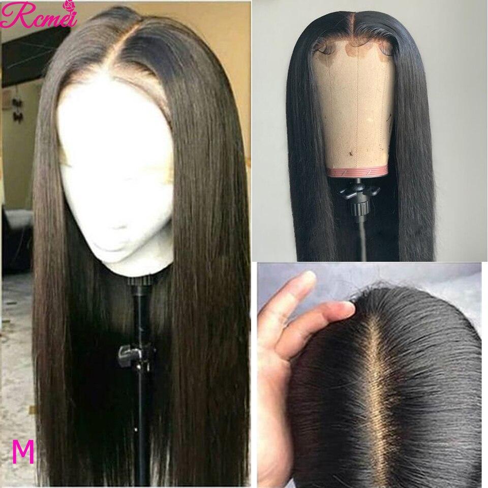 Parte do laço peruca perucas de cabelo humano em linha reta peruca dianteira do laço pré arrancado com o cabelo do bebê 26 polegada 150% parte média brasileira remy perucas