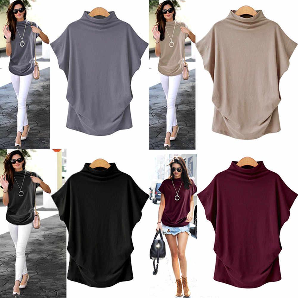 女性タートルネック韓国スタイル tシャツ原宿トップ半袖固体トップス女性の tシャツ夏カジュアルトップスプラスサイズ 6xl # K20