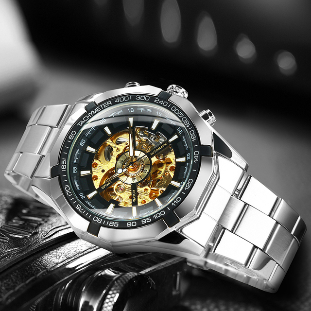 Winner Watch Men Skeleton Automatic Mechanical Watch Gold Skeleton Vintage Man Watch Mens Watches Top Brand Luxury часы мужские 4