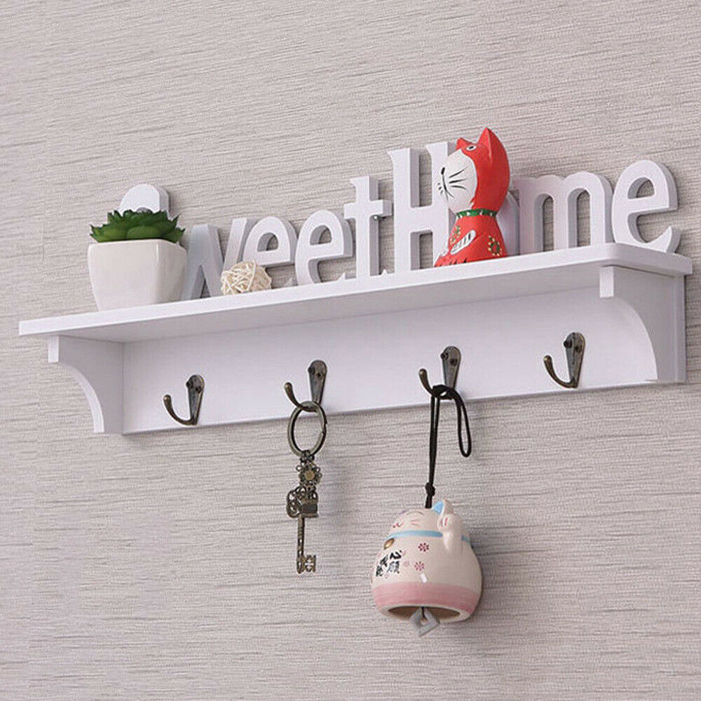 New Creative Wooden Wall Hook Door Mounted Shelf Holder / Clothes Hat Coat Hook Key Wall Organizer Rack Mounted 47 * 16.5 * 9cm