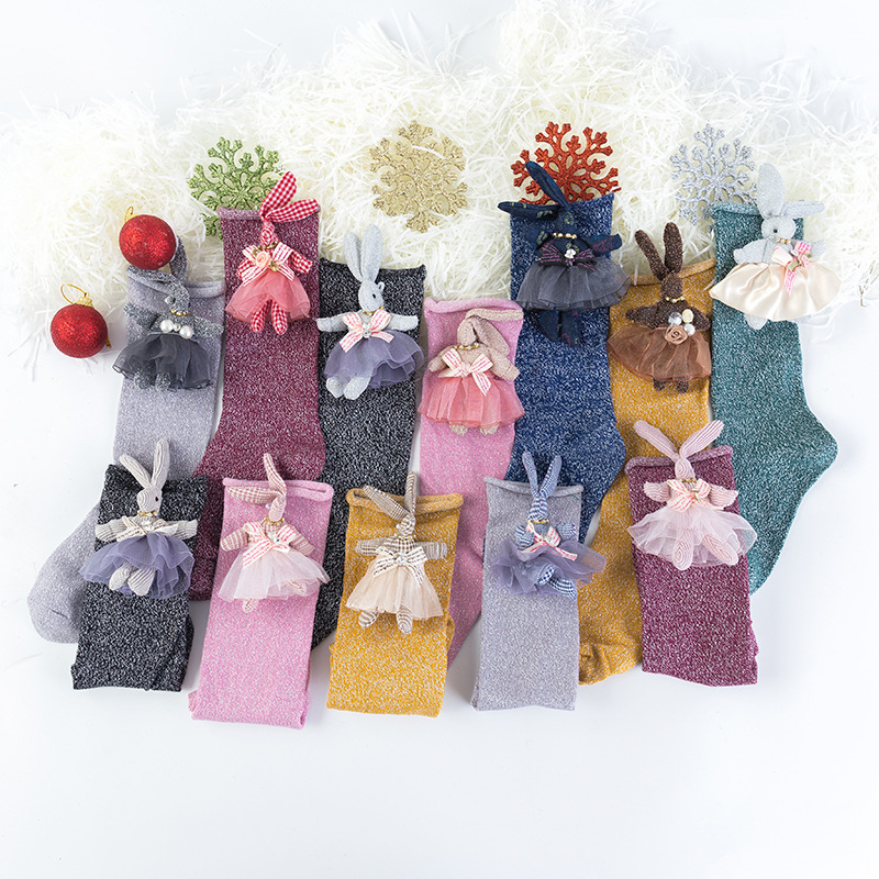 1-2 Years Old Female Baby Cartoon Socks Autumn New Three-Dimensional Rabbit Gold And Silver Silk Children's Socks