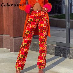 Celandine Sexy Women Fashion Casual High Wasited Pants Long Red Floral Print Y2K Capris Baggy Trousers Pants Summer 2021