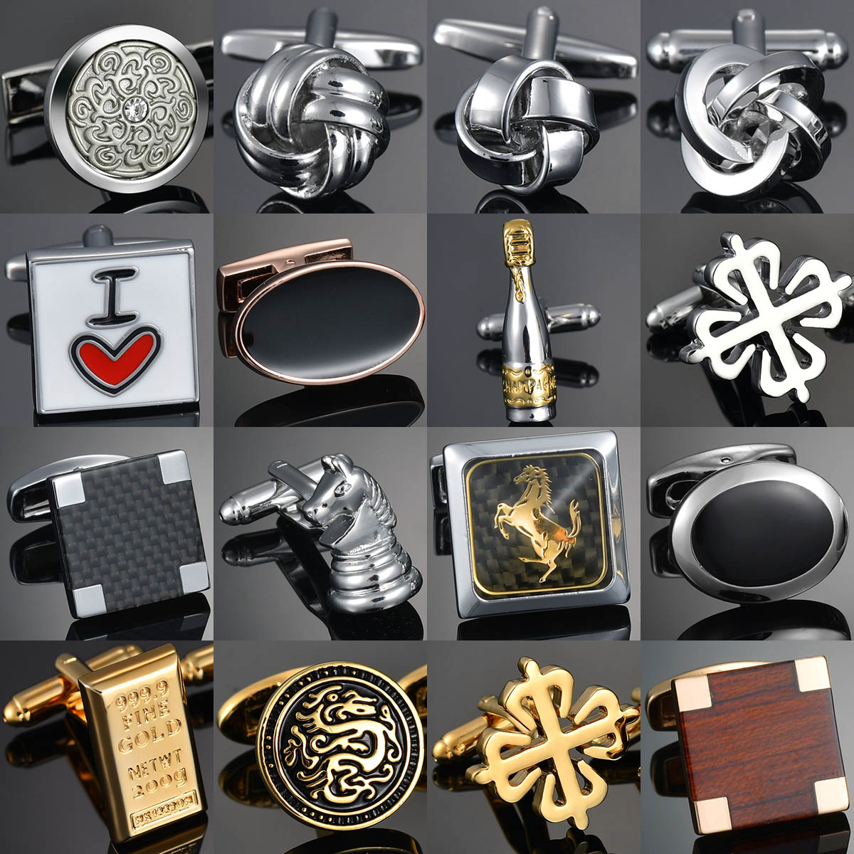 New Arrive Shirt Cufflinks Festival Christmas Cuff Links For Wedding Party FashionWooden/Knot/Dragon Men Sleeve Shirt Cufflinks