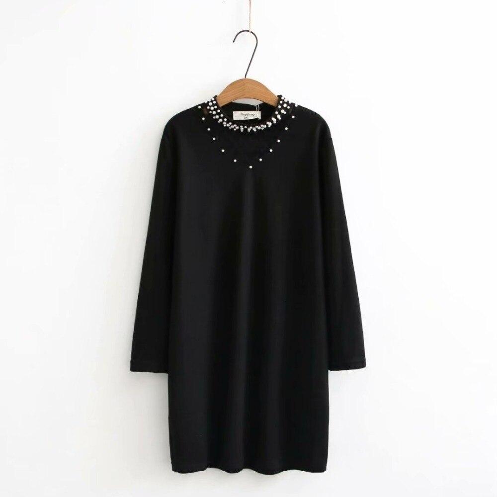 Grande taille bord v-cou perles femmes long chandail blouse 2019 printemps NIEUWE aléatoire dames lâche noir chemises oversize blouse femmes