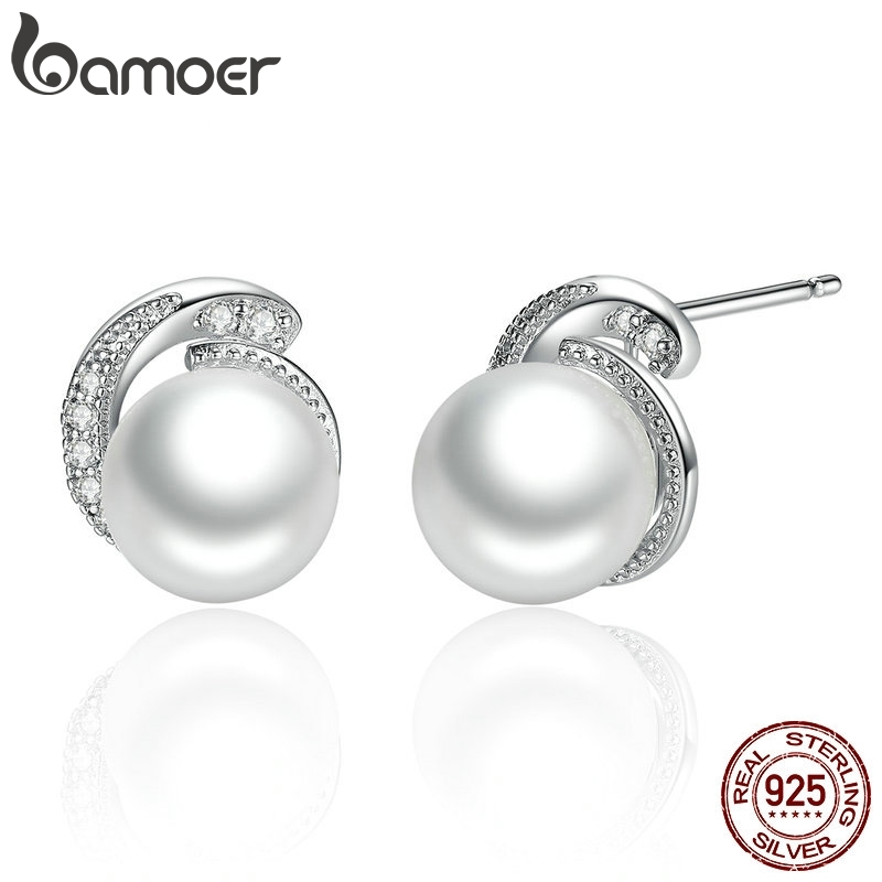 BAMOER Pearl Earrings Jewelry 925 Sterling Silver White Pearl Push-back Stud Earrings For Women Fashion Jewelry SCE021