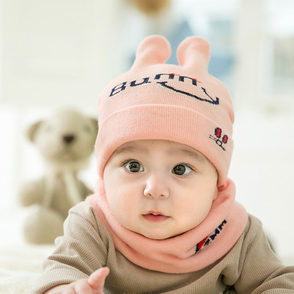 Scarf Newborn Kids Baby Boy Girl Fur Pom Hat Winter Warm Knit Bobble Beanie Cap