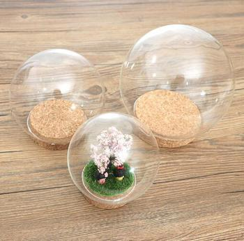 10pcs  x Empty Clear Glass Round Eternal Flower Glass Cover Cork Dust Cover Decorative Bottle Valentine Gift